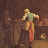 17 - Жан Франсуа Мілле, Жанчына пячэ хлеб, 1854 г