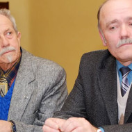 Падчас прэзентацыі ў Рызе. Злева направа: Сяргей Панізьнік і Міхась Казлоўскі.
