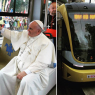 Папа Рымскі ў кракаўскім трамваі
