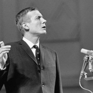 Popular anti-Stalinist poet Yevgenny Yevtushenko is shown during a reading of his poetry in Moscow's Tschaikovsky Concert Hall in Moscow on Dec. 28, 1962.(AP Photo)