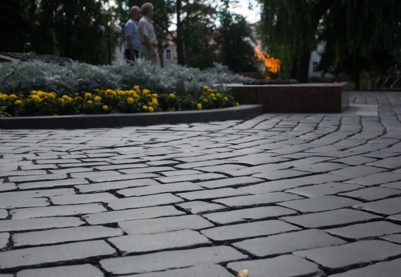 Брук около вечного огня в парке Жильбера