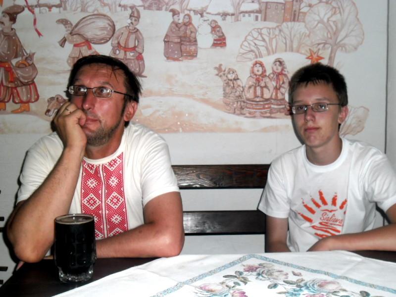 Алесь Пушкін з сынам Мікалаем