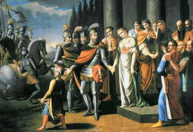 Ян Караль Хадкевіч разьвітваецца з жонкай. Мастак Юзэф Аляшкевіч, 1808