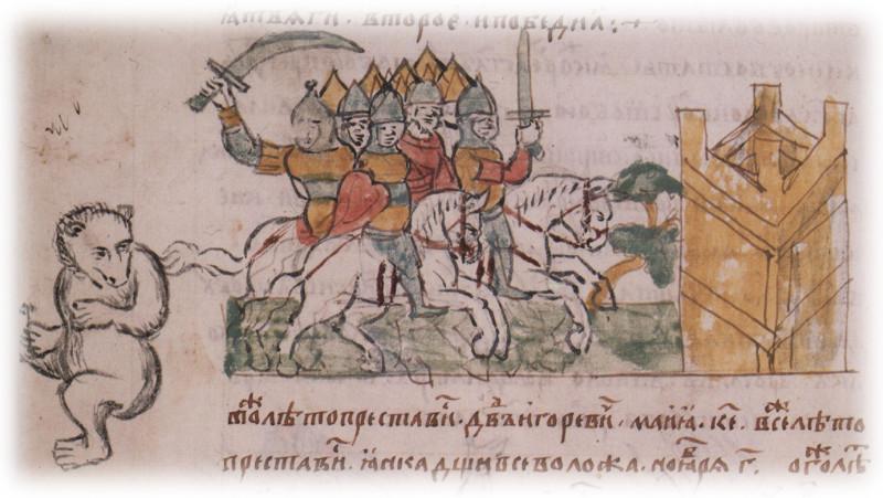 Паходы кіеўскіх князёў, мініяцюра з Радзівілаўскага летапісу