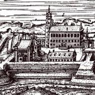 Мураваны замак часоў М. К. Радзівіла Сіроткі. Фрагмент гравюры Тамаша Макоўскага.