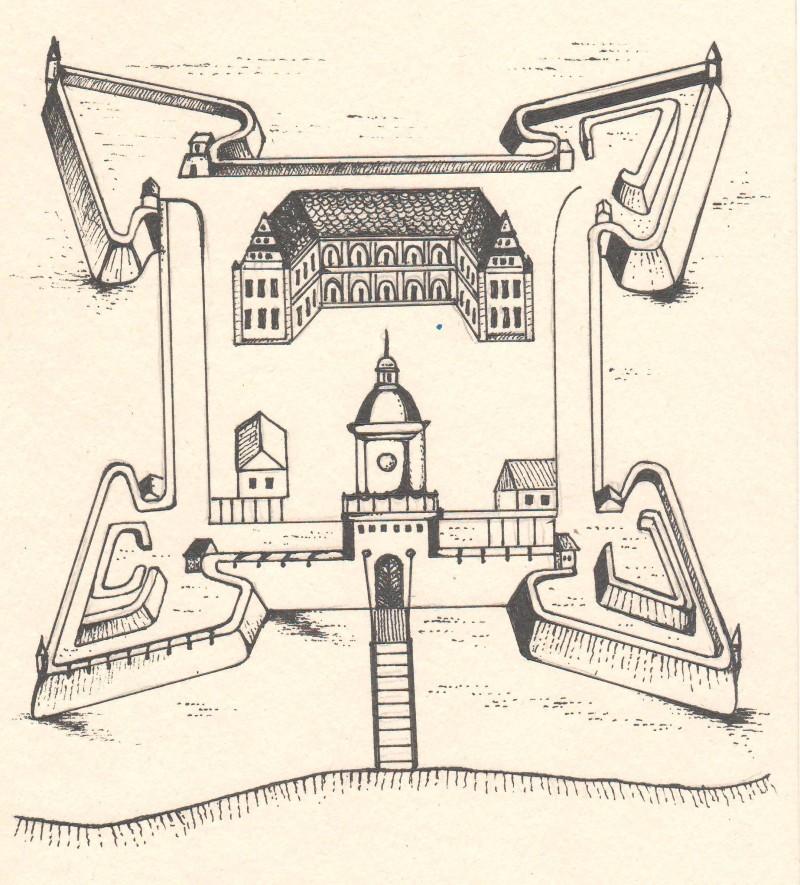 Ляхавіцкі замак. Перамалёўка паводле гравюры XVII ст.